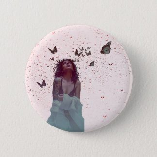 Butterfly Woman 6 Cm Round Badge