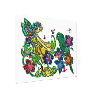 Butterfly Woman Floral & Bird Canvas Print