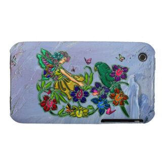 Butterfly Woman Floral & Bird iPhone 3 Case-Mate Cases