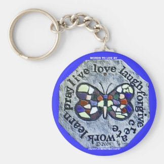 BUTTERFLY WORDS TO LIVE BY KEYCHAIN