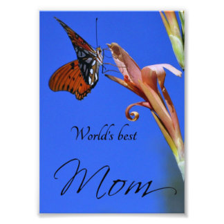 "Butterfly ""World's Best Mom"" Photo Print"