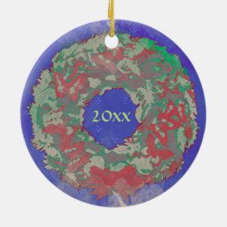 """Butterfly Wreath"" Christmas Ornament (RedGrnBlu)"