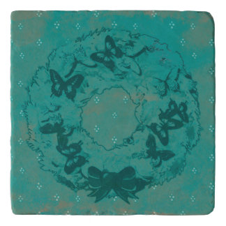 """Butterfly Wreath"" Christmas Stone Trivet (Teal)"