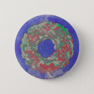 """""""Butterfly Wreath"""" Holiday Button Pin (RedGrnBlue)"""