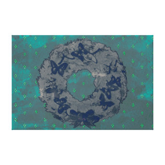 """""""Butterfly Wreath"""" Holiday Canvas Print (GreyTeal)"""