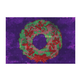 """""""Butterfly Wreath"""" Holiday Canvas Print (RedGrPpl)"""