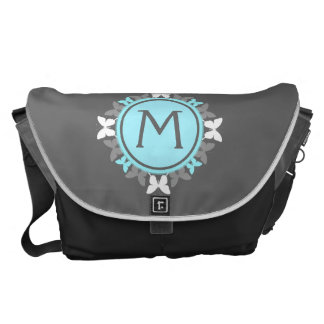 Butterfly Wreath Monogram White Ice Blue Gray Courier Bag