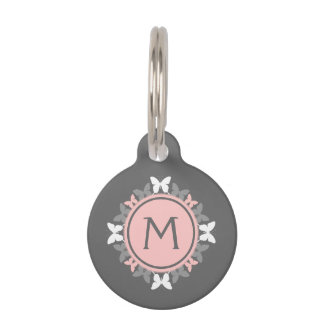Butterfly Wreath Monogram White Rose Pink Gray Pet ID Tag