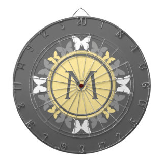 Butterfly Wreath Monogram White Yellow Gray Dartboard With Darts