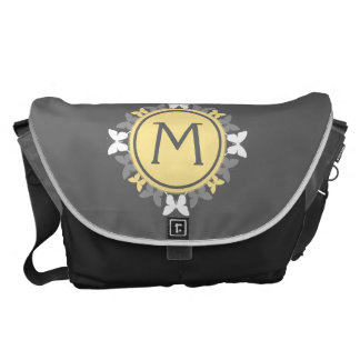 Butterfly Wreath Monogram White Yellow Gray Messenger Bag