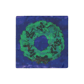 """""""Butterfly Wreath"""" Stone Xmas Magnet (GreenCobalt) Stone Magnet"""