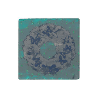 """""""Butterfly Wreath"""" Stone Xmas Magnet (GreyTeal) Stone Magnet"""