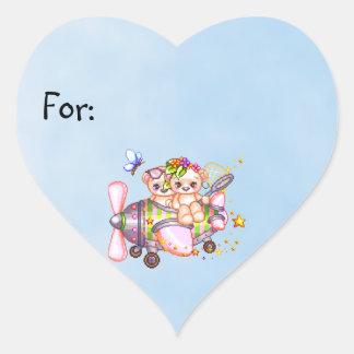 Butterflying Bears Pixel Art Heart Sticker