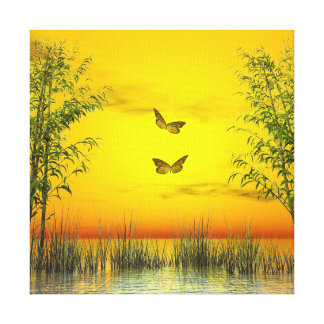 Butterlflies by sunset - 3D render Canvas Print