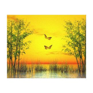 Butterlflies by sunset - 3D render Canvas Print
