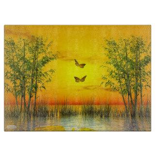 Butterlflies by sunset - 3D render Cutting Board