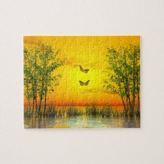 Butterlflies by sunset - 3D render Jigsaw Puzzle