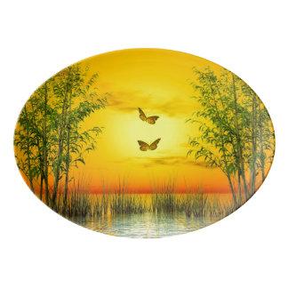 Butterlflies by sunset - 3D render Porcelain Serving Platter