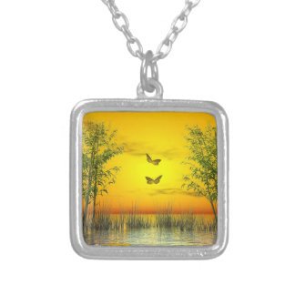 Butterlflies by sunset - 3D render Silver Plated Necklace