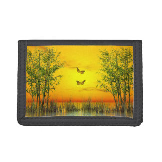 Butterlflies by sunset - 3D render Trifold Wallets