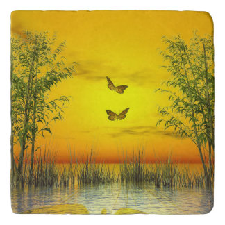 Butterlflies by sunset - 3D render Trivet