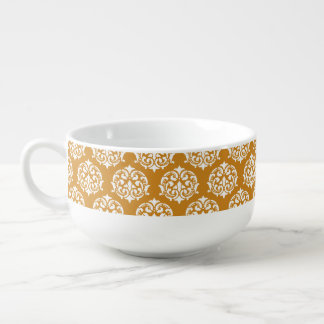 Butternut orange and White Damask Pattern Soup Bowl With Handle