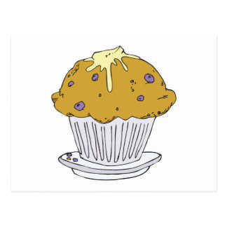 buttery blueberry muffin postcard