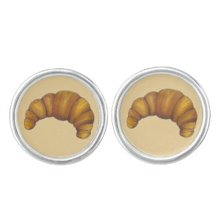 Buttery Croissant Crescent French Breakfast Pastry Cufflinks