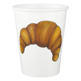 Buttery Flaky Golden Croissant French Pastry Food Paper Cup