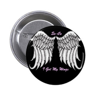 BUTTON,ANGEL WINGS, I Got My Wings... - Customized 6 Cm Round Badge
