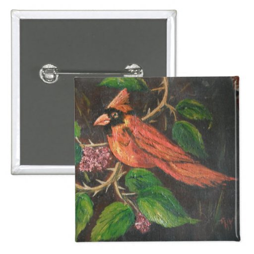Button Ann Hayes Painting Cardinal