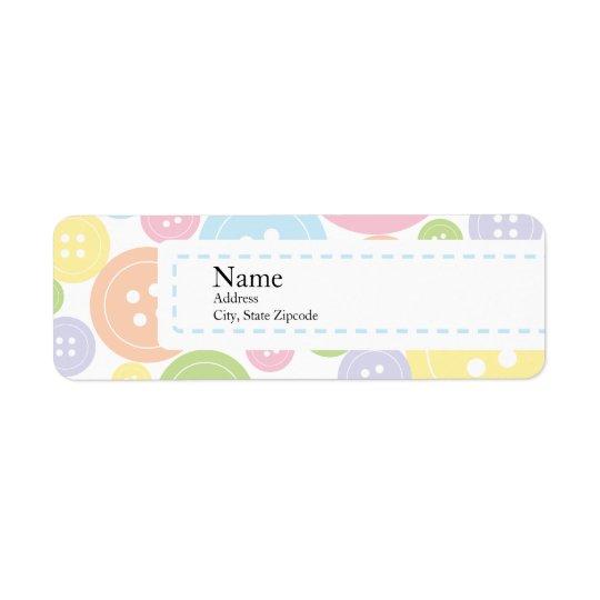 Button Baby Shower Return Address Label | Boy