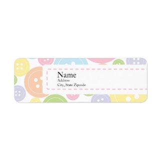 Button Baby Shower Return Address Label   Girl