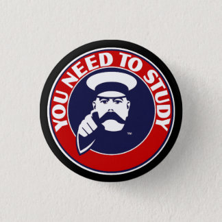 Button badge in University of Edinburgh colours.