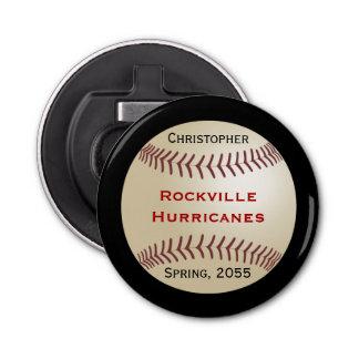 Button Bottle Opener for Baseball Team, Customized