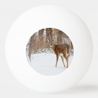 Button Buck Deer in Winter White Snowy Field Ping Pong Ball
