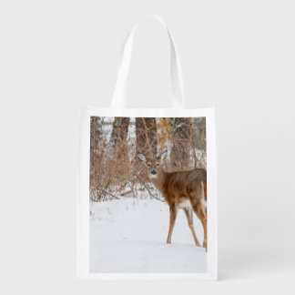 Button Buck Deer in Winter White Snowy Field Reusable Grocery Bag