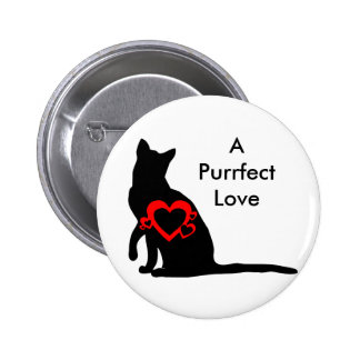 Button: Cat Silhouette with Red Hearts 6 Cm Round Badge