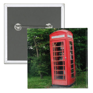Button Countryside Red Phone Box