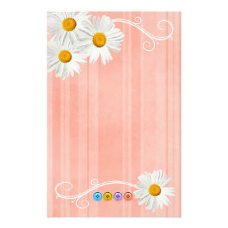 Button Daisy Pink Customized Stationery