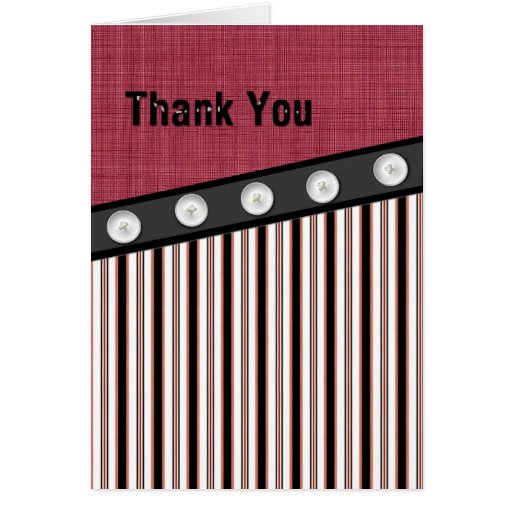 Button Down Red White and Black Pinstripe Thanks Greeting Card