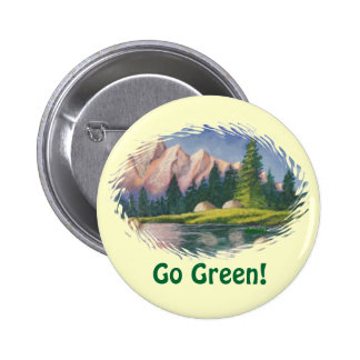 Button Go Green Pink Mountain Painting