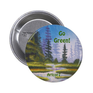 Button Go Green River Pine Forest Painting