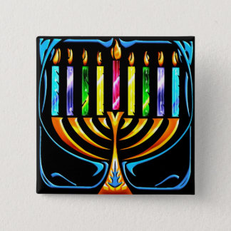 Button: Hanukkah Menorah - Chanukah Menorah 15 Cm Square Badge