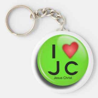 button jesus green basic round button key ring