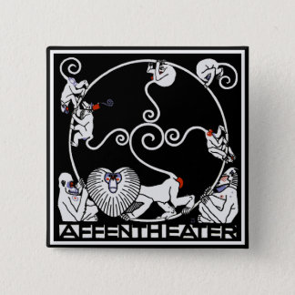 Button: Jugendstil - Affentheater 15 Cm Square Badge