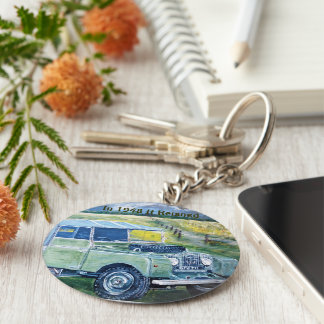 Button Key Ring With Land Rover Print