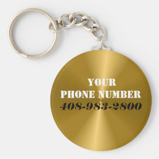 Button Keychain with Your Phone Number