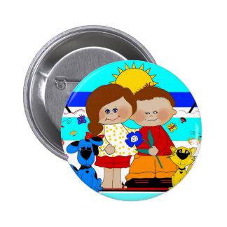 Button Kid's Best Friends Boy Girl Dog Cat 2 Buttons