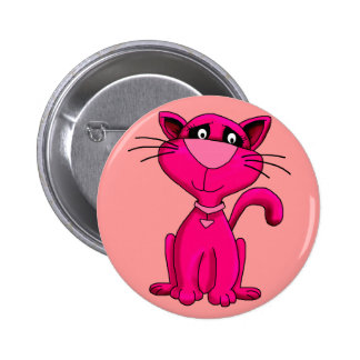 Button Kid's Bright Pink Kitty Cat Pins